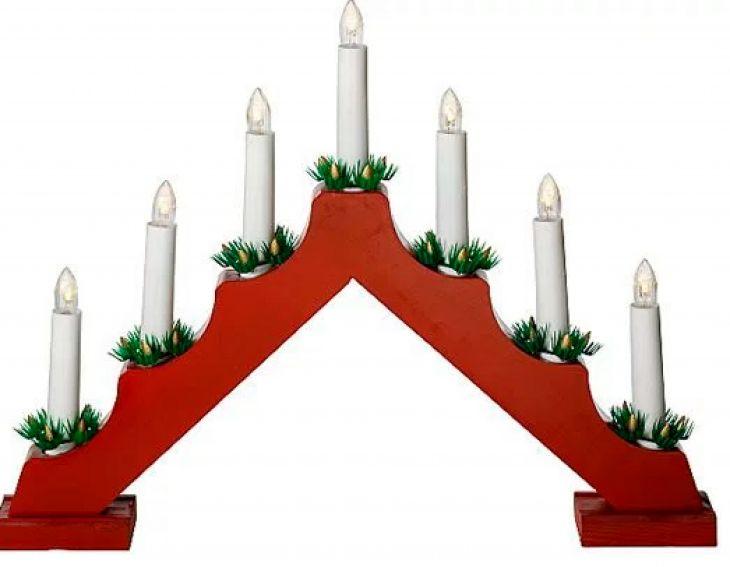Рождественская горка 7 свечей RED