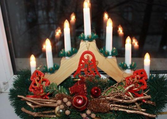 Рождественская горка 7 свечей деревянный